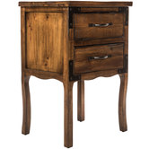 Antique Natural Side Table with Drawers